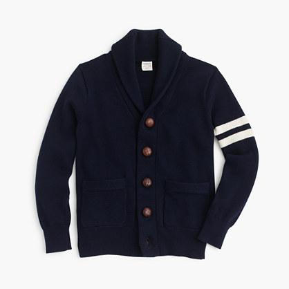 Boys' shawl-collar varsity cardigan sweater