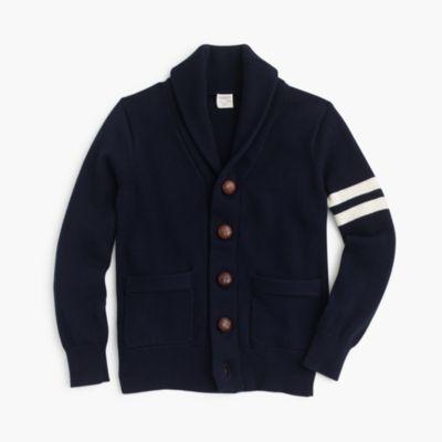 Boys' shawl-collar varsity cardigan sweater :