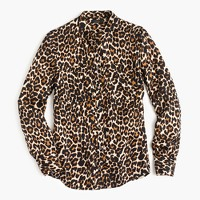 Collarless pocket top in leopard