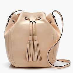 Tassel-tie bucket bag in smooth leather