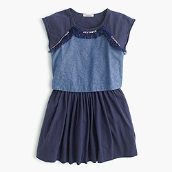 Girls' tiered dress with pom-poms
