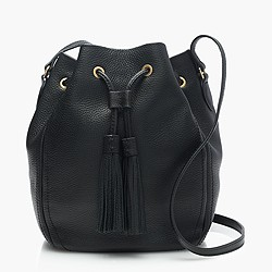 Tassel-tie bucket bag in pebbled leather