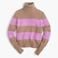 Italian cashmere ribbed turtleneck sweater in stripe