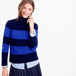 Collection cashmere ribbed turtleneck sweater in stripe
