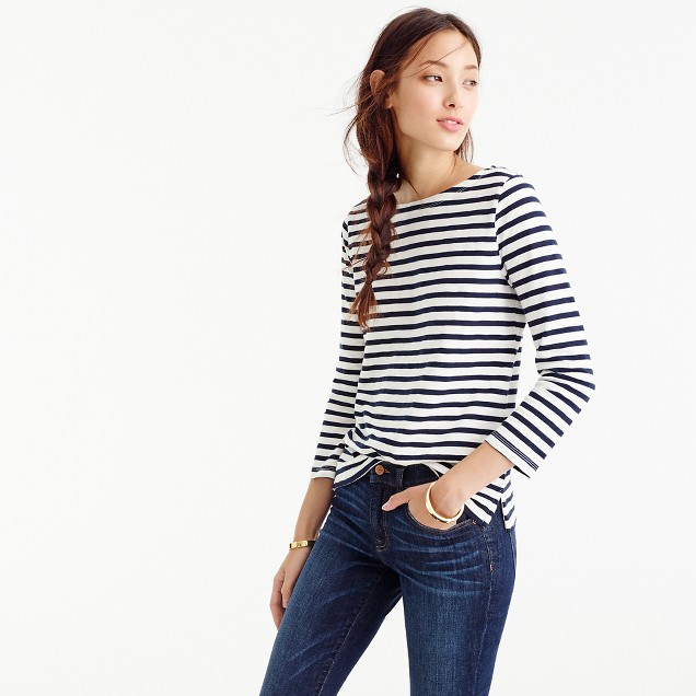 Striped boatneck t shirt women 39 s tees j crew for Best striped t shirt