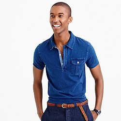 Wallace & Barnes indigo polo shirt