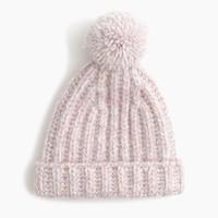 Marled knit pom-pom beanie