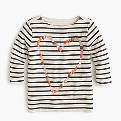 Girls' embellished heart long-sleeve T-shirt