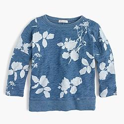 Girls' faded floral sweatshirt