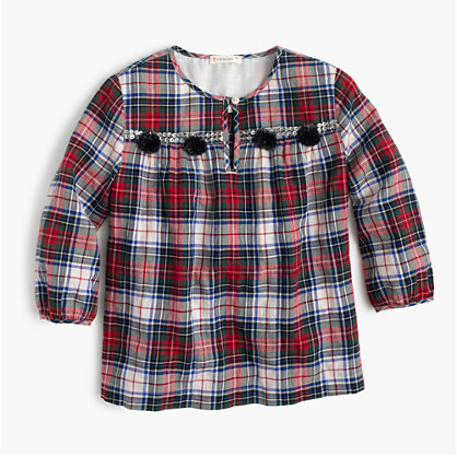 Girls' embellished plaid top