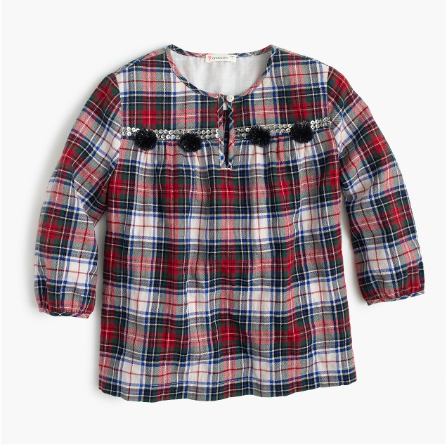 Girls' embellished plaid top