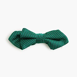 Boys' silk bow tie in green stripe