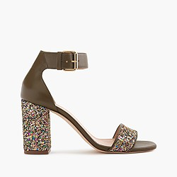 Collection green glitter strappy sandals