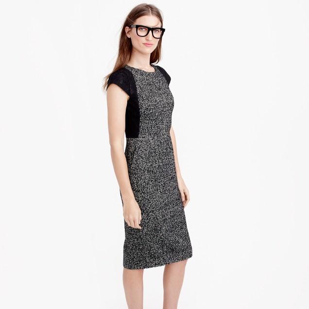 Tweed sheath dress with lace