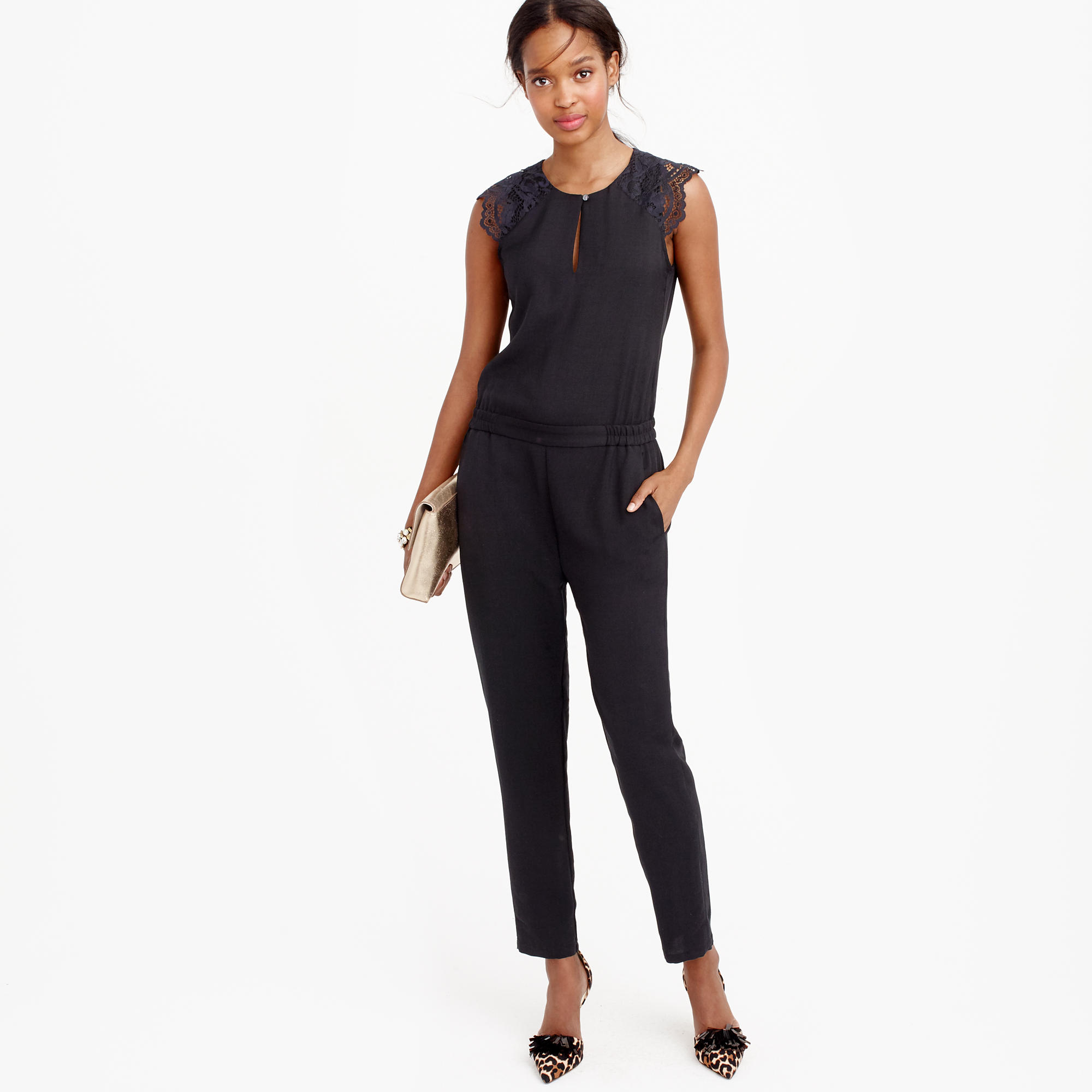 Drapey oxford jumpsuit with lace sleeves : | J.Crew