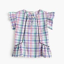 Girls' pastel gingham flutter-sleeve top