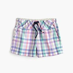 Girls' pastel gingham shorts