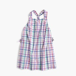 Girls' pastel gingham racerback shift dress