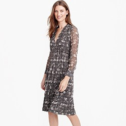 Long-sleeve dress in feather print