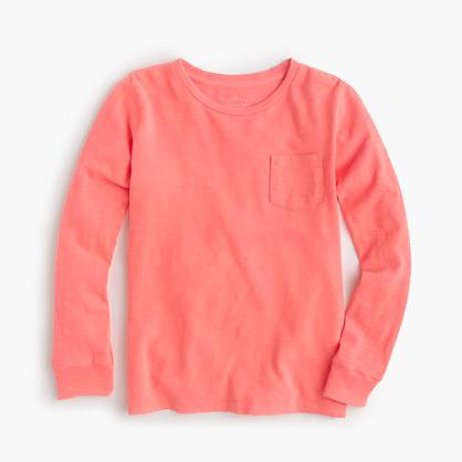 Kids' long-sleeve garment-dyed T-shirt