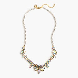 Girls' pearl and stone necklace