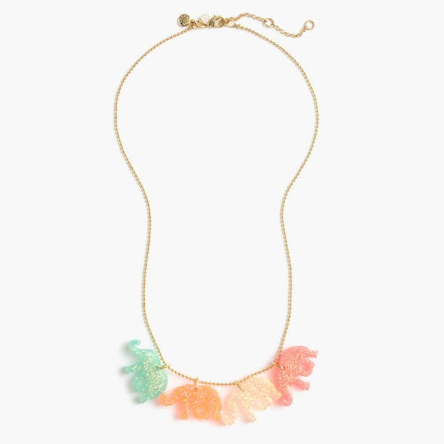 Girls' glitter elephants necklace