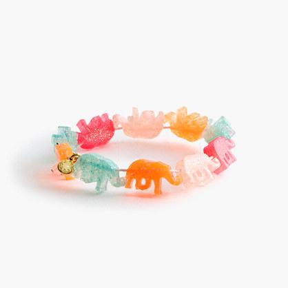 Girls' glitter elephants bracelet