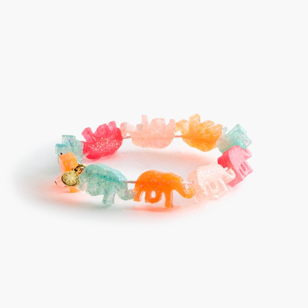 Girls' glitter elephants bracelet