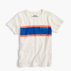 Boys' triple-striped pocket T-shirt