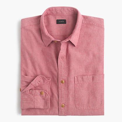 Tall slub cotton shirt in solid