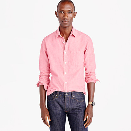 Tall slub cotton shirt in solid