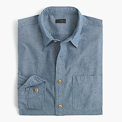 Slim rustic cotton shirt in solid