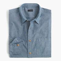 Slim slub cotton shirt in solid