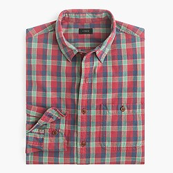 Slim rustic cotton shirt in Austin plaid