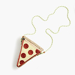 Girls' glitter pizza slice bag