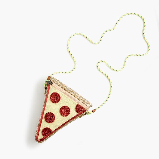 Girls' glitter pizza slice bag