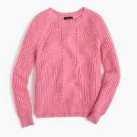 Wool-blend pointelle cable sweater