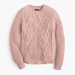 Collection cashmere cable sweater with pom-poms