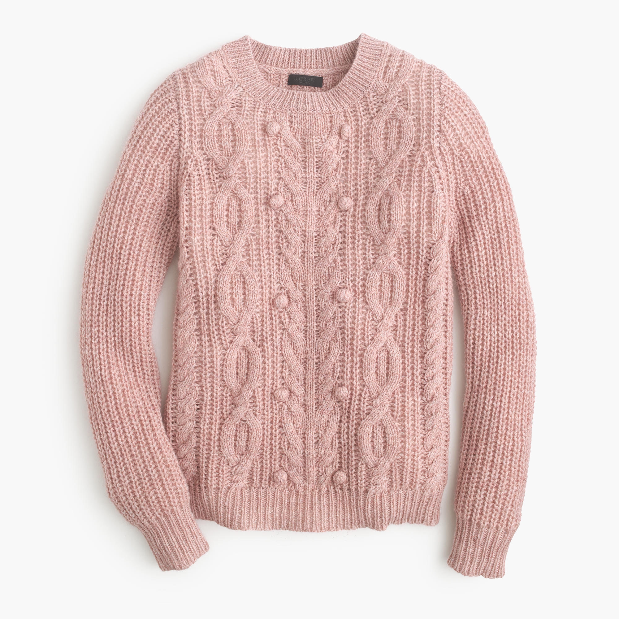 Italian cashmere cable sweater with pom-poms : Women ...