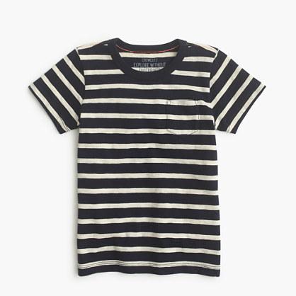Boys' pocket T-shirt in nautical stripe