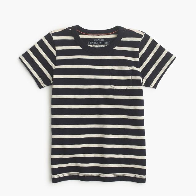 Boys' pocket T-shirt in nautical stripe