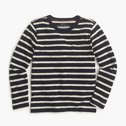 Boys' long-sleeve pocket T-shirt in nautical stripe