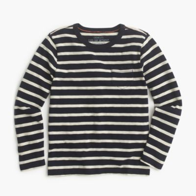 Boys' long-sleeve pocket T-shirt in nautical stripe