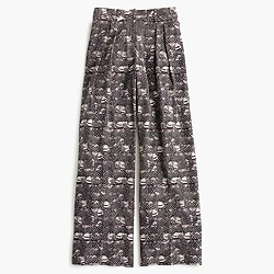 Wide-leg pant in feather print