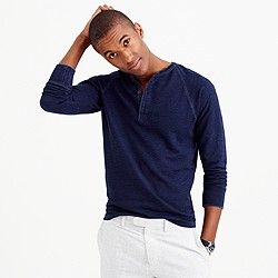 Wallace & Barnes textured cotton indigo henley