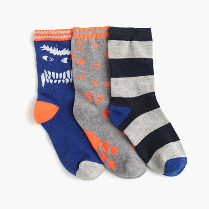 Boys' glow-in-the-dark smiling yeti socks three-pack