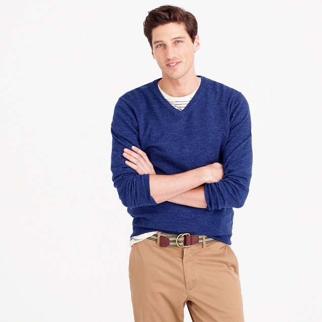 Rugged cotton V-neck sweater