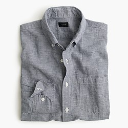 Slim Irish linen-cotton shirt in houndstooth