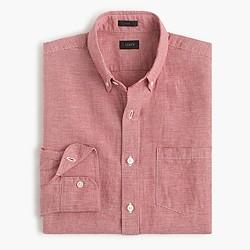 Slim Irish linen-cotton shirt in houndstooth