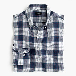 Slim délavé Irish linen shirt in plaid